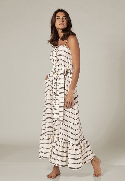 WHITE STRIPED RUFFLE SLIP DRESS