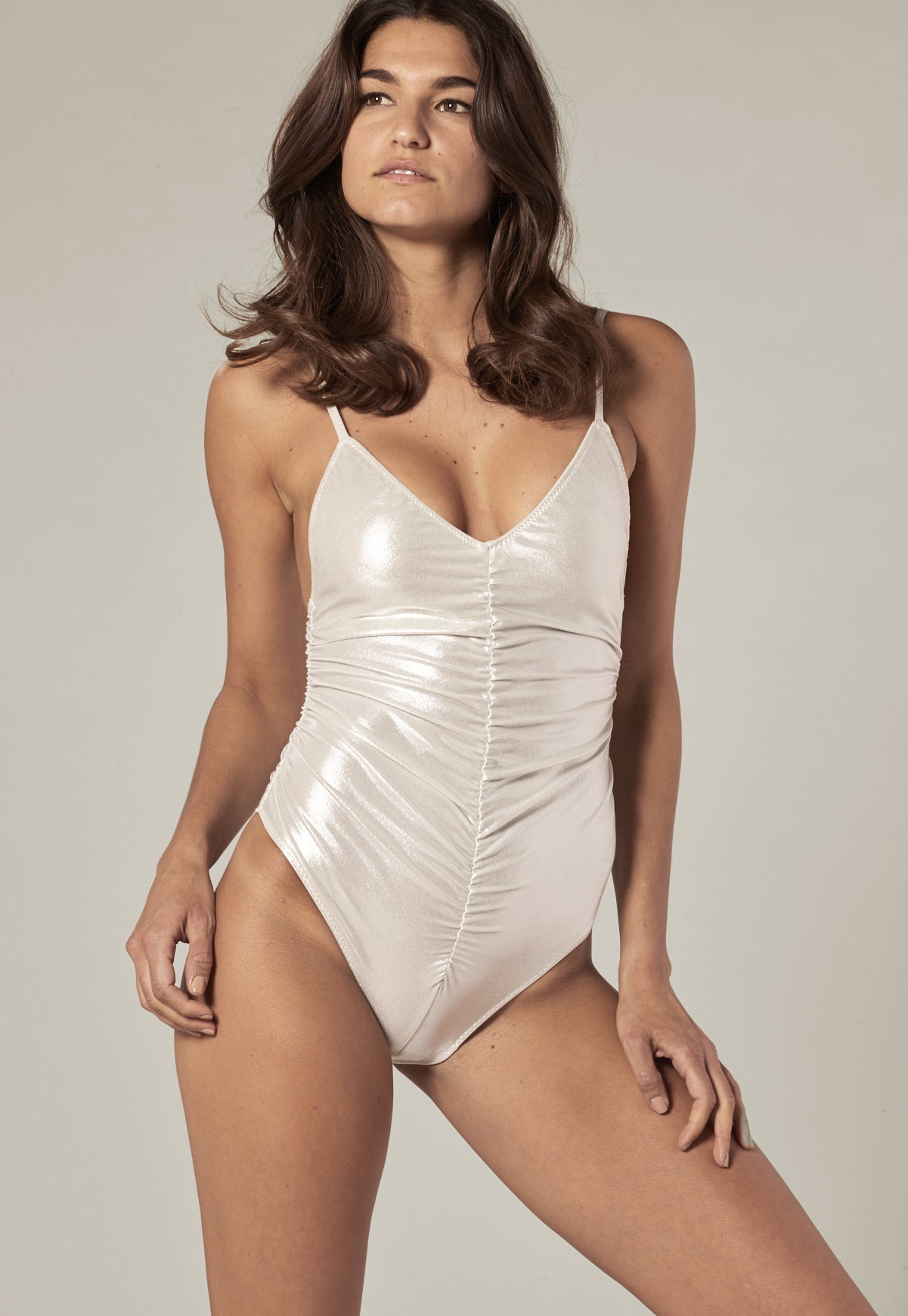 8a2baf19551ab RUCHED SILVER METALLIC CAMISOLE MAILLOT – Lisa Marie Fernandez