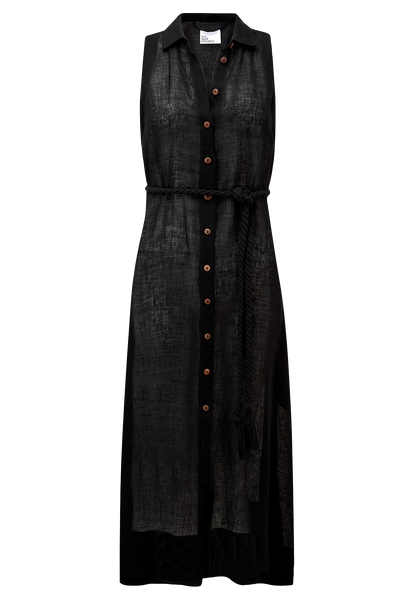 ALISON BLACK GAUZE SHIRT DRESS