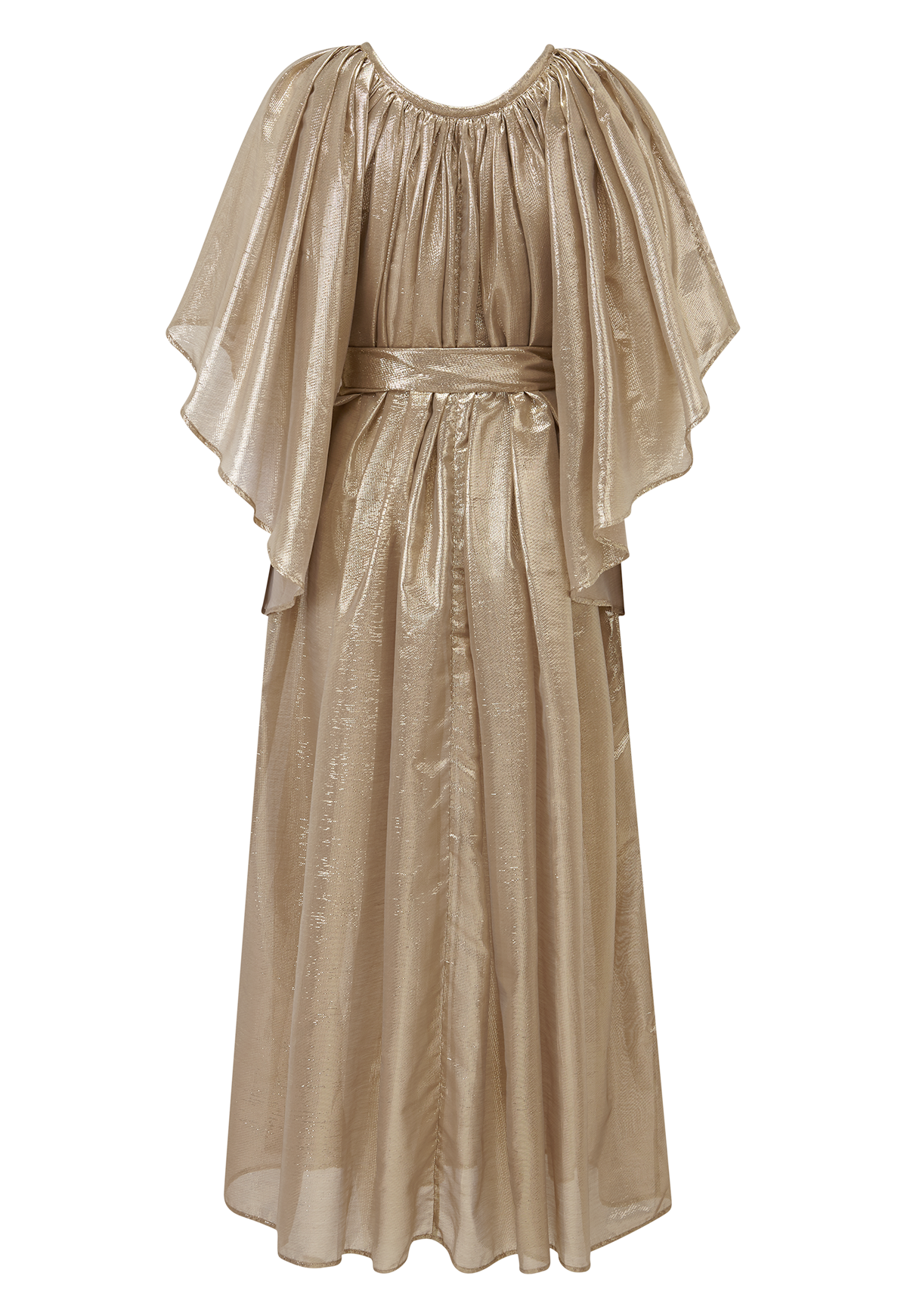 ANGEL SLEEVE GOLD METALLIC DRESS