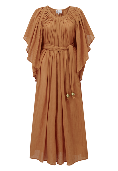 ANGEL SLEEVE TERRACOTTA COTTON MAXI DRESS