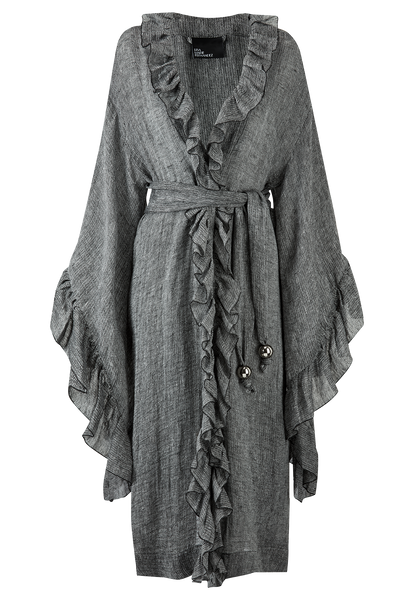 ANITA BLACK HEATHERED GAUZE ROBE
