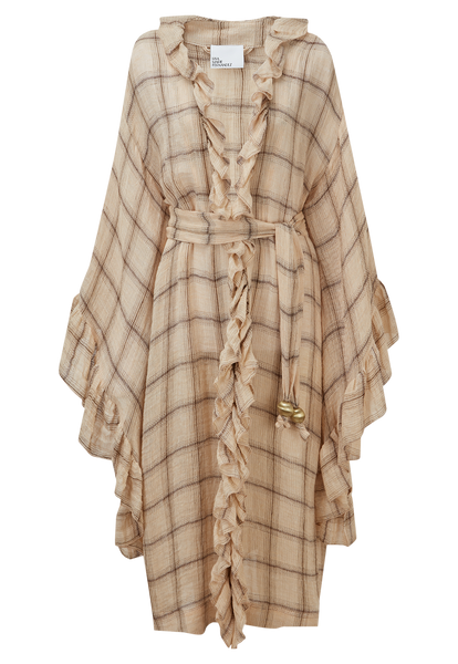 ANITA PEACH WINDOWPANE GAUZE ROBE