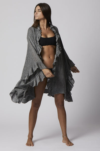 ANITA BLACK HEATHERED GAUZE MINI ROBE