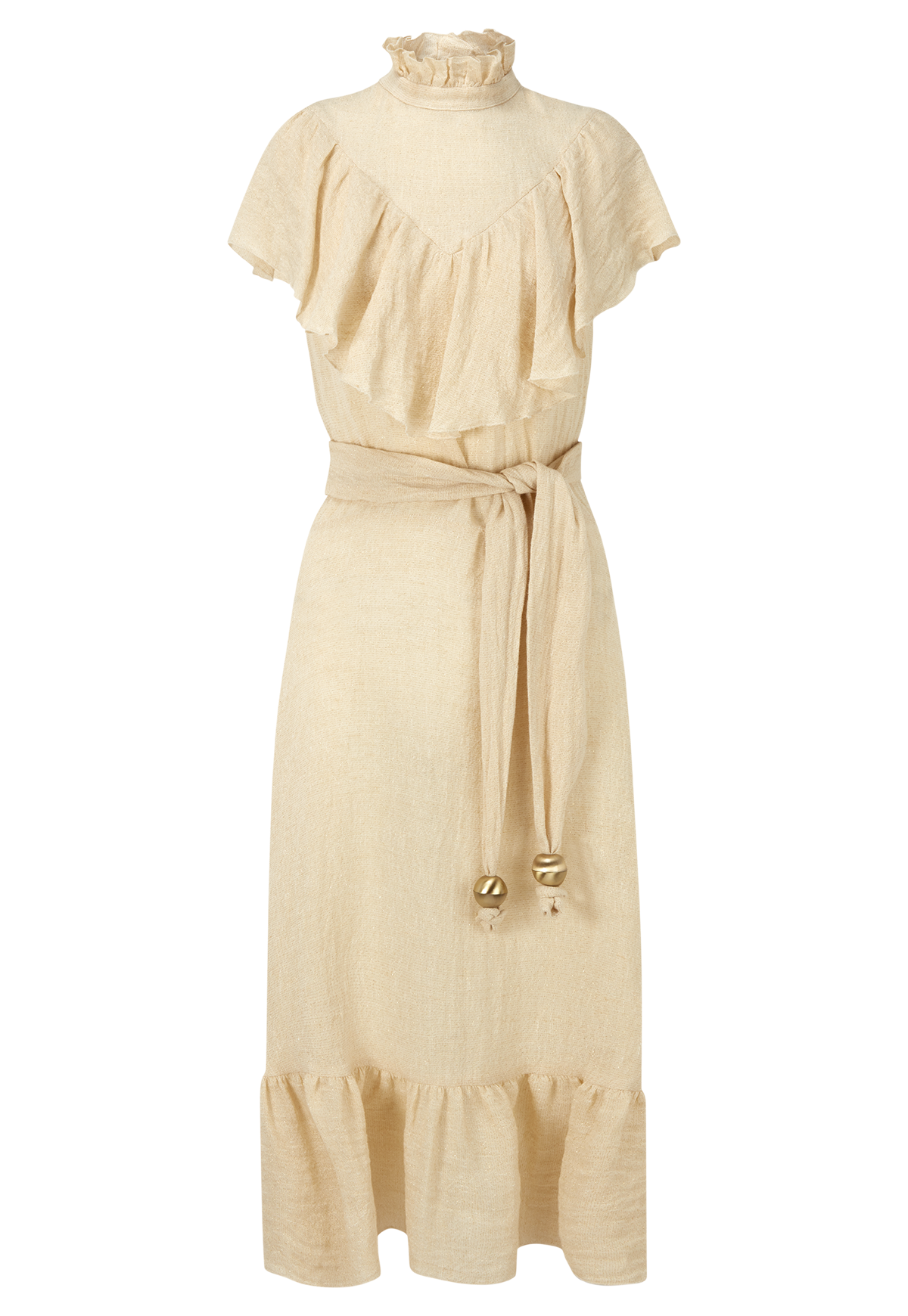 ANTONINA NATURAL METALLIC GAUZE DRESS
