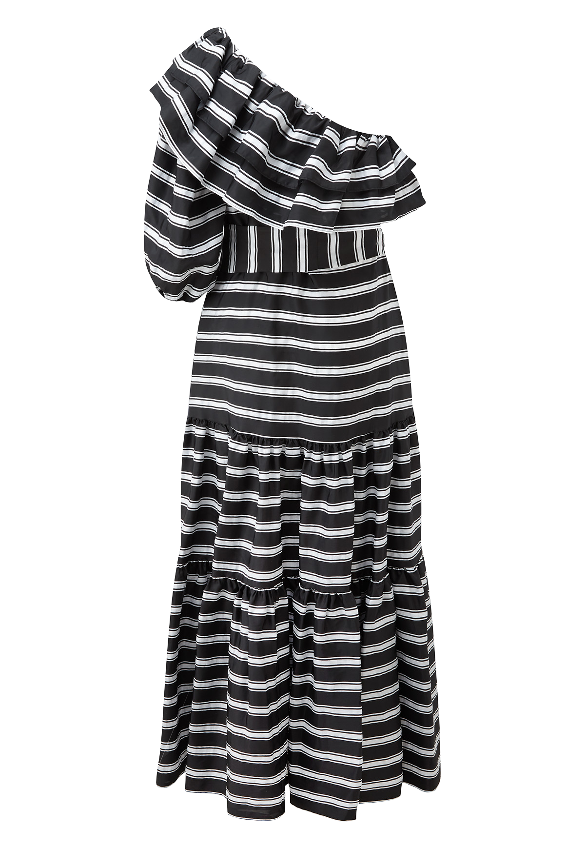 ARDEN BLACK STRIPED POUF SLEEVE DRESS