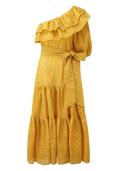 ARDEN SAFFRON/GOLD EYELET DRESS