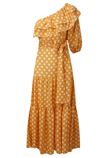 ARDEN ORANGE POLKA DOT LINEN DRESS