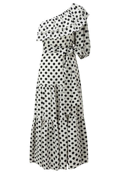 ARDEN BLACK POLKA DOT LINEN DRESS