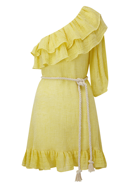 ARDEN YELLOW CHIOS GAUZE MINI DRESS