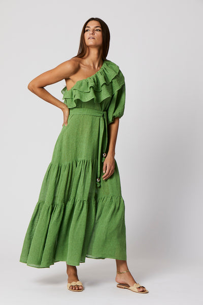 ARDEN GREEN ORGANIC GAUZE DRESS