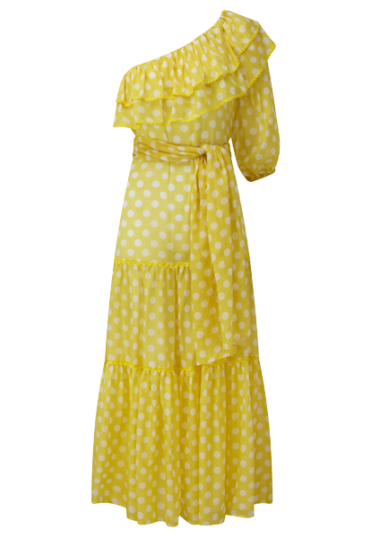 ARDEN YELLOW POLKA DOT SHEER DRESS