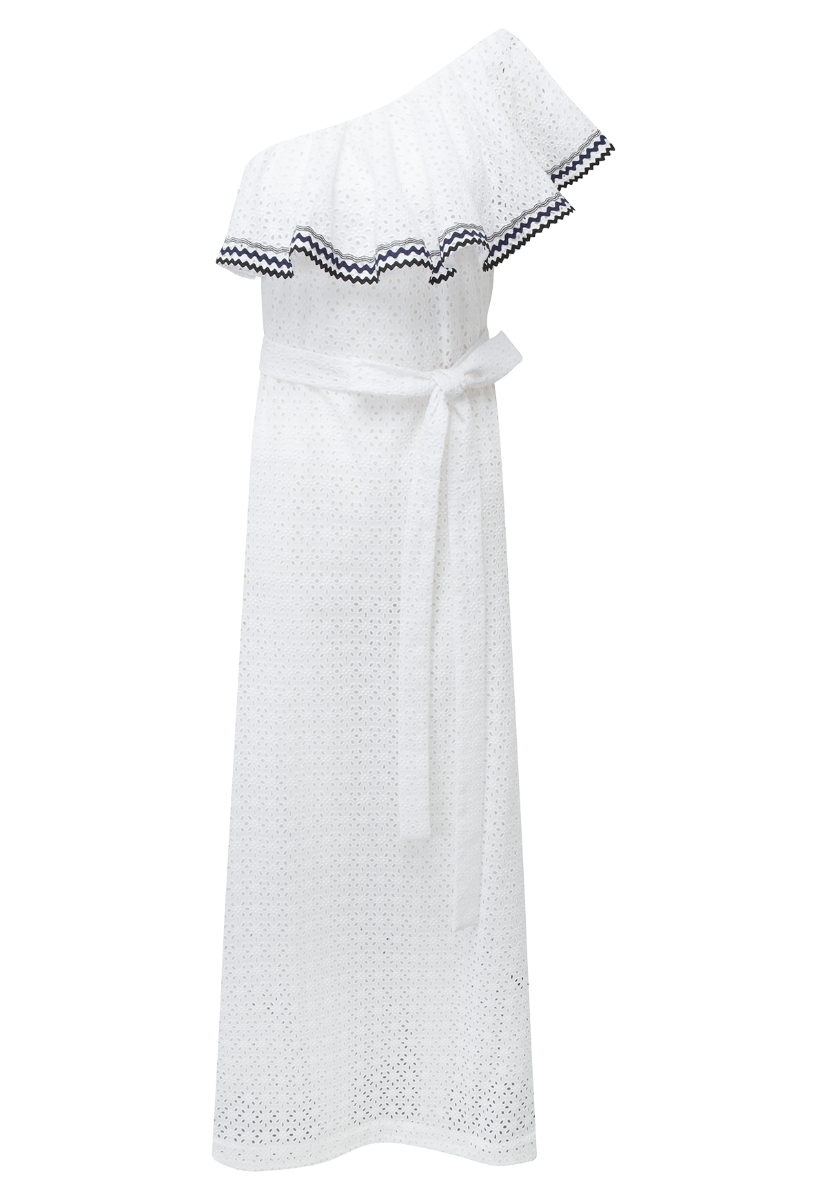 ARDEN FLOUNCE WHITE EYELET DRESS