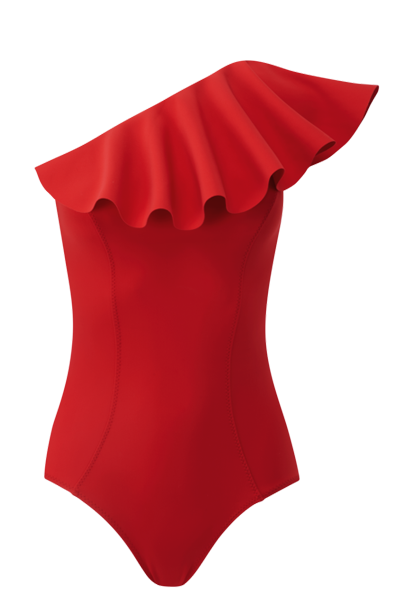 ARDEN TOMATO FLOUNCE BONDED MAILLOT
