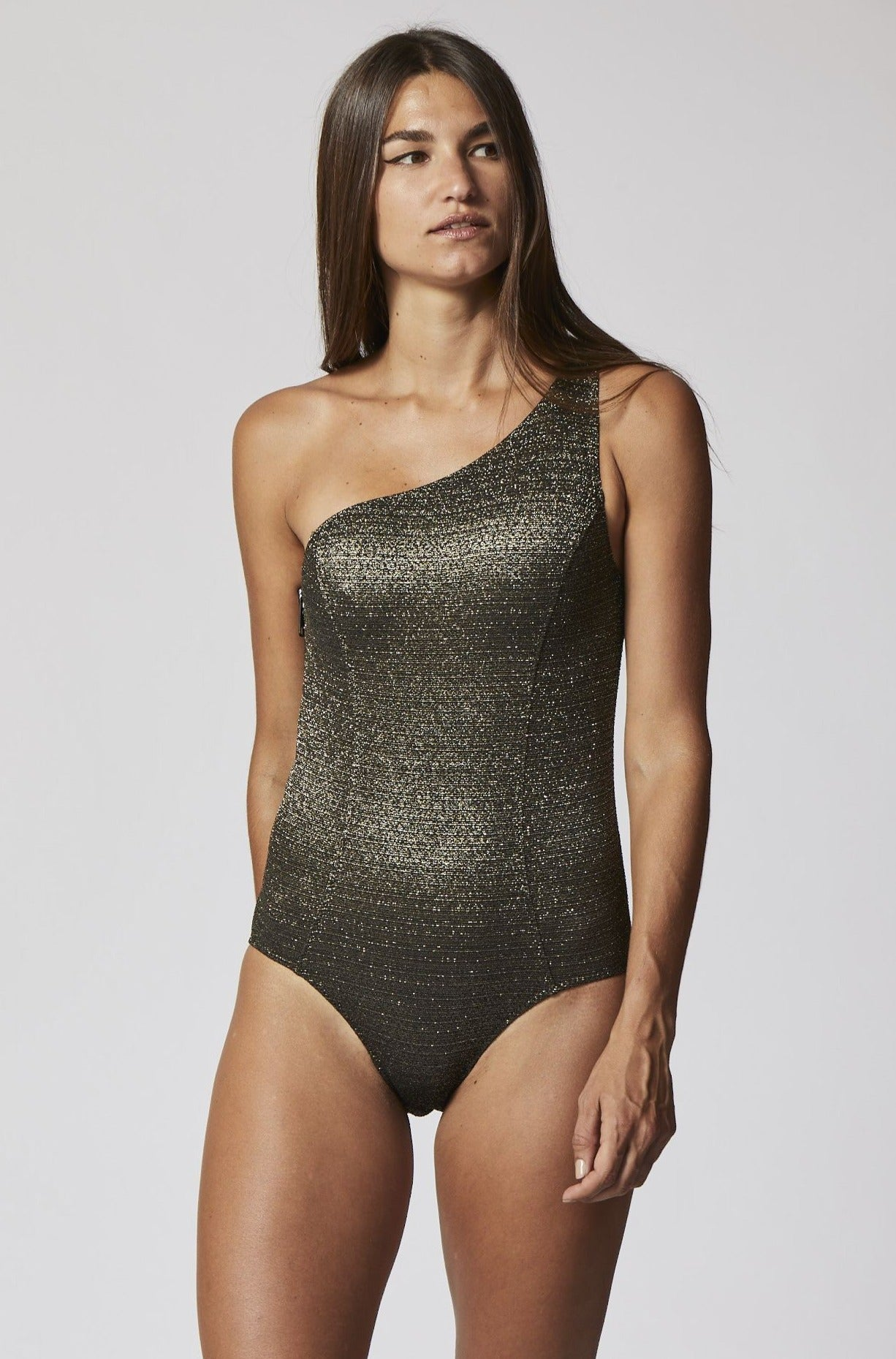 ARDEN GOLD/BLACK LUREX MAILLOT