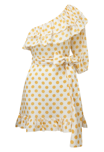 ARDEN ORANGE POLKA DOT MINI DRESS