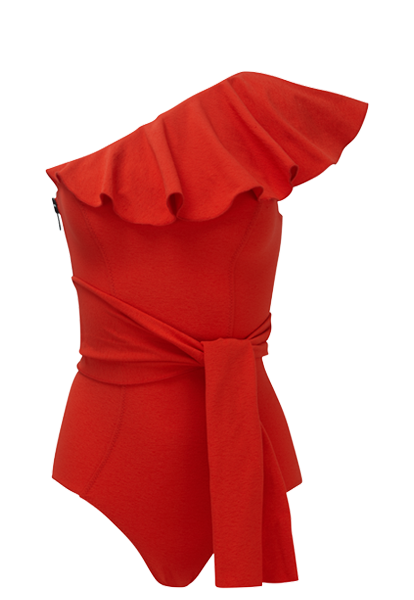 ARDEN TOMATO FLOUNCE CREPE MAILLOT