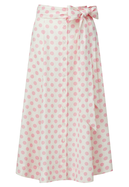 PINK POLKA DOT LINEN BEACH SKIRT