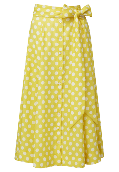 YELLOW POLKA DOT LINEN BEACH SKIRT