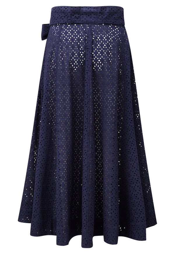 NAVY EYELET BEACH SKIRT