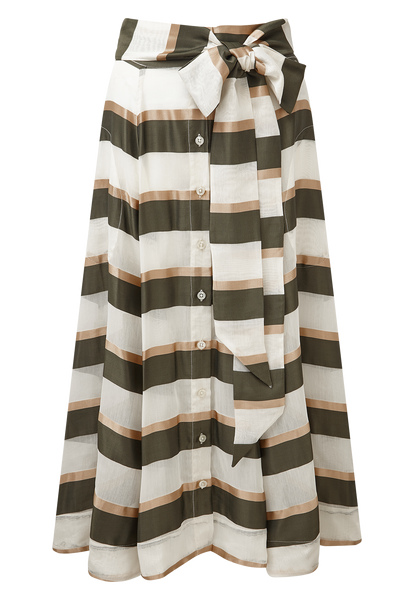 OLIVE/GOLD STRIPED BEACH SKIRT
