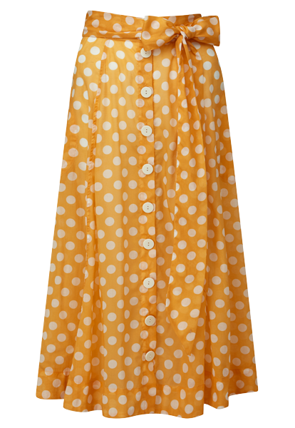 ORANGE POLKA DOT BEACH SKIRT