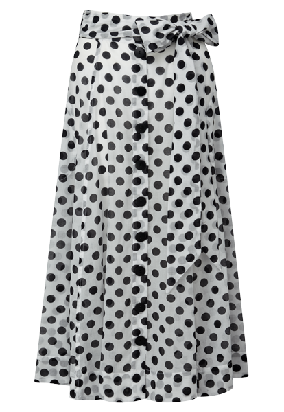 BLACK POLKA DOT SHEER BEACH SKIRT