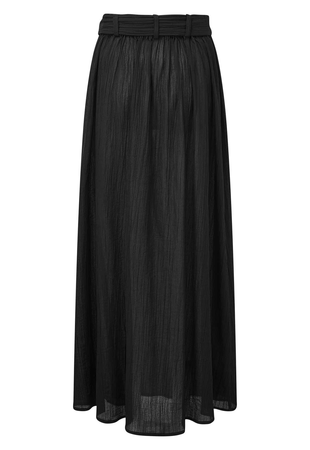 BELTED BLACK COTTON SKIRT