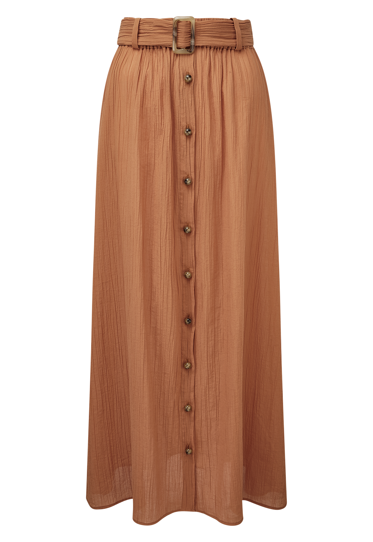 BELTED TERRACOTTA COTTON SKIRT
