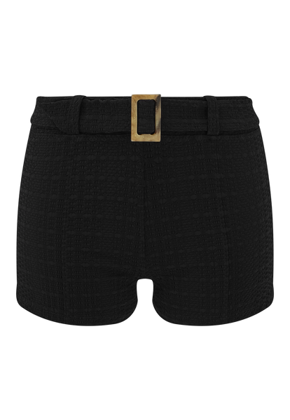 BLACK SEERSUCKER BELTED HOT PANT