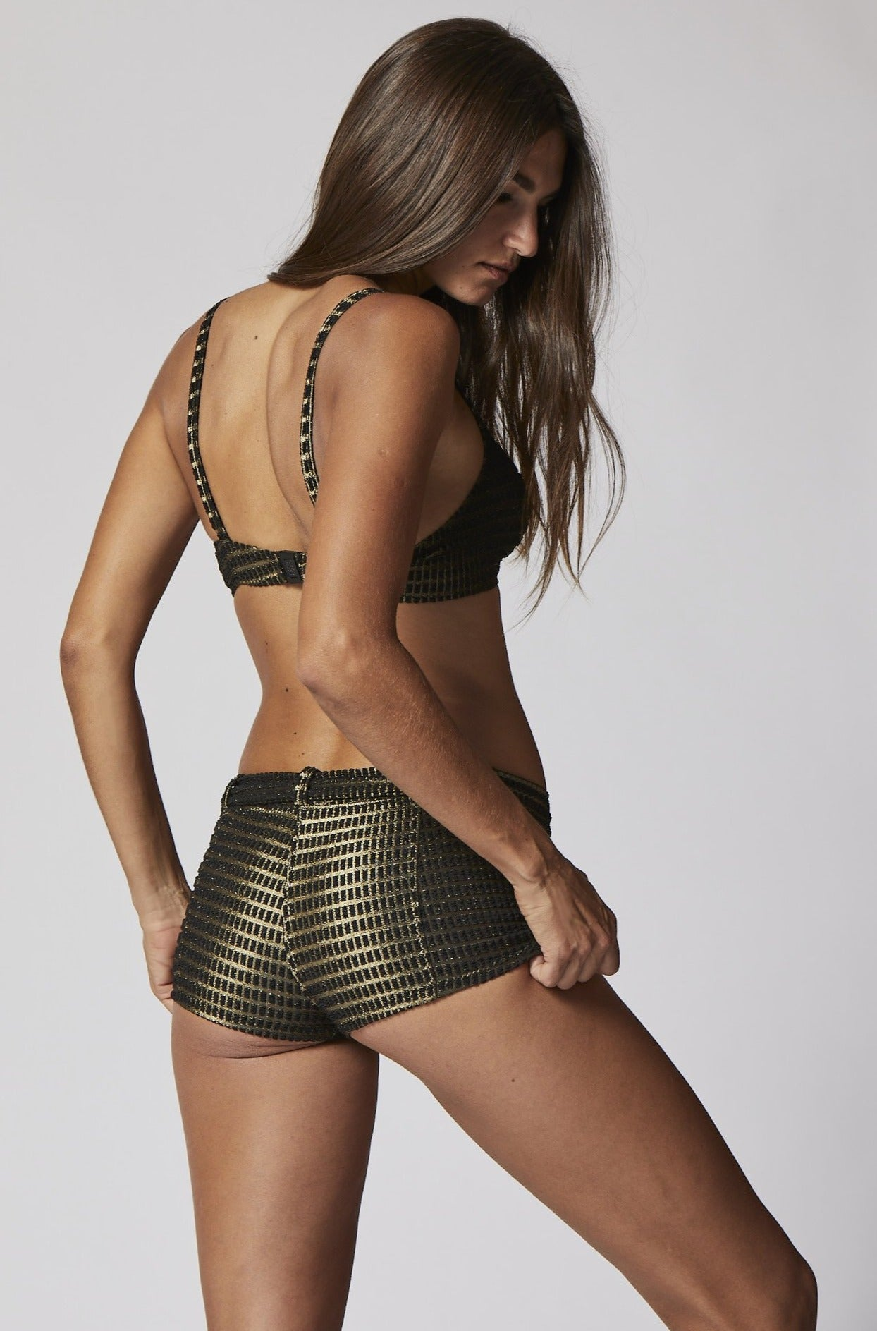 GOLD/BLACK JACQUARD BELTED HOT PANT