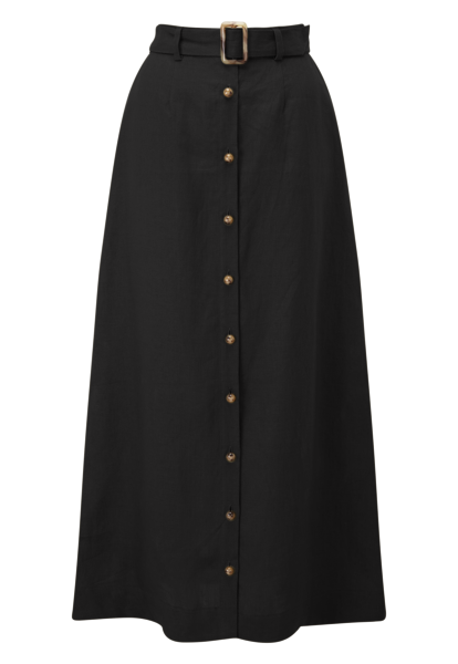 BELTED BLACK LINEN SKIRT