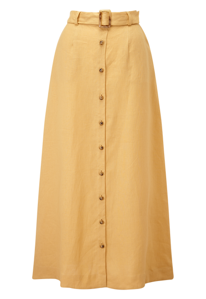 BELTED GOLD LINEN MAXI SKIRT