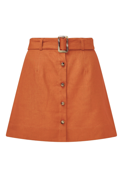 BELTED TERRACOTTA LINEN MINI SKIRT