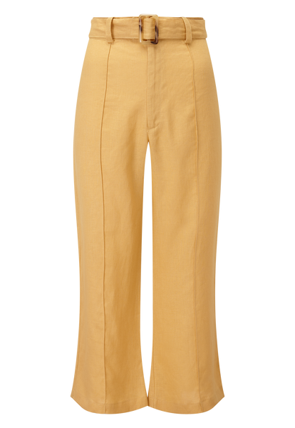 BELTED GOLD LINEN PANT