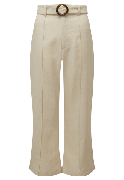 BELTED SAND LINEN PANT