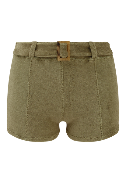 OLIVE TERRY CLOTH BELTED HOT PANT
