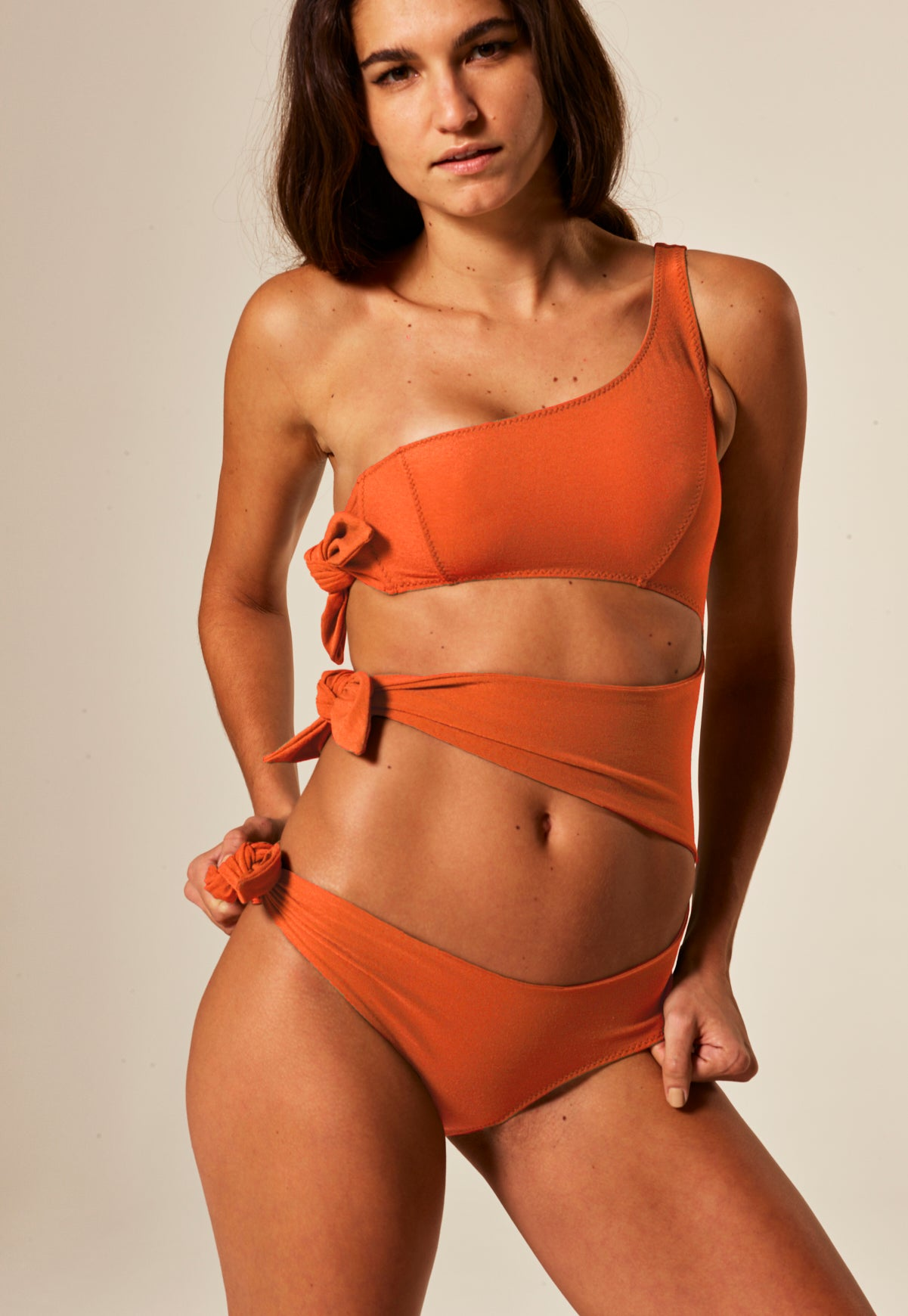BIANCA TERRACOTTA CREPE MAILLOT
