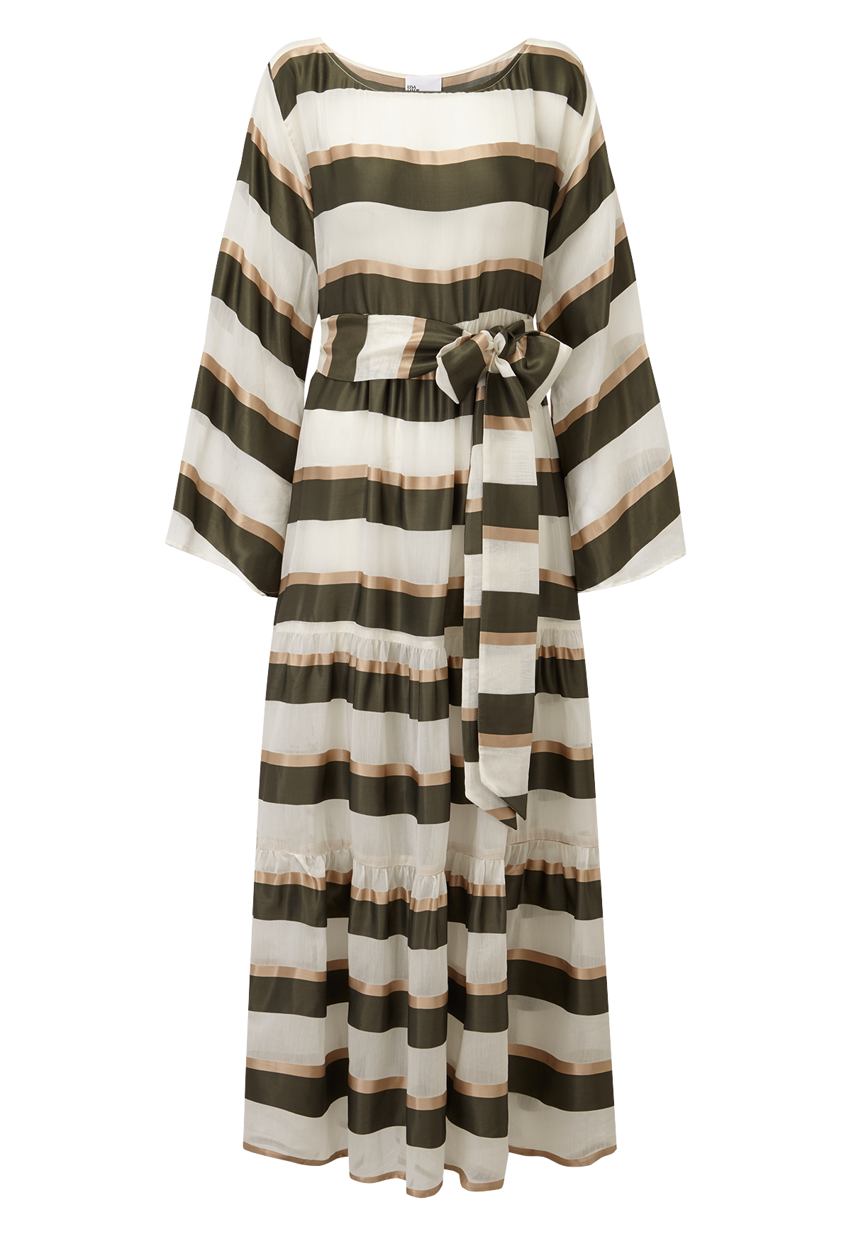 OLIVE AND GOLD STRIPED BOATNECK PEASANT DRESS