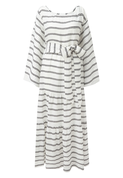 WHITE STRIPED BOATNECK PEASANT DRESS