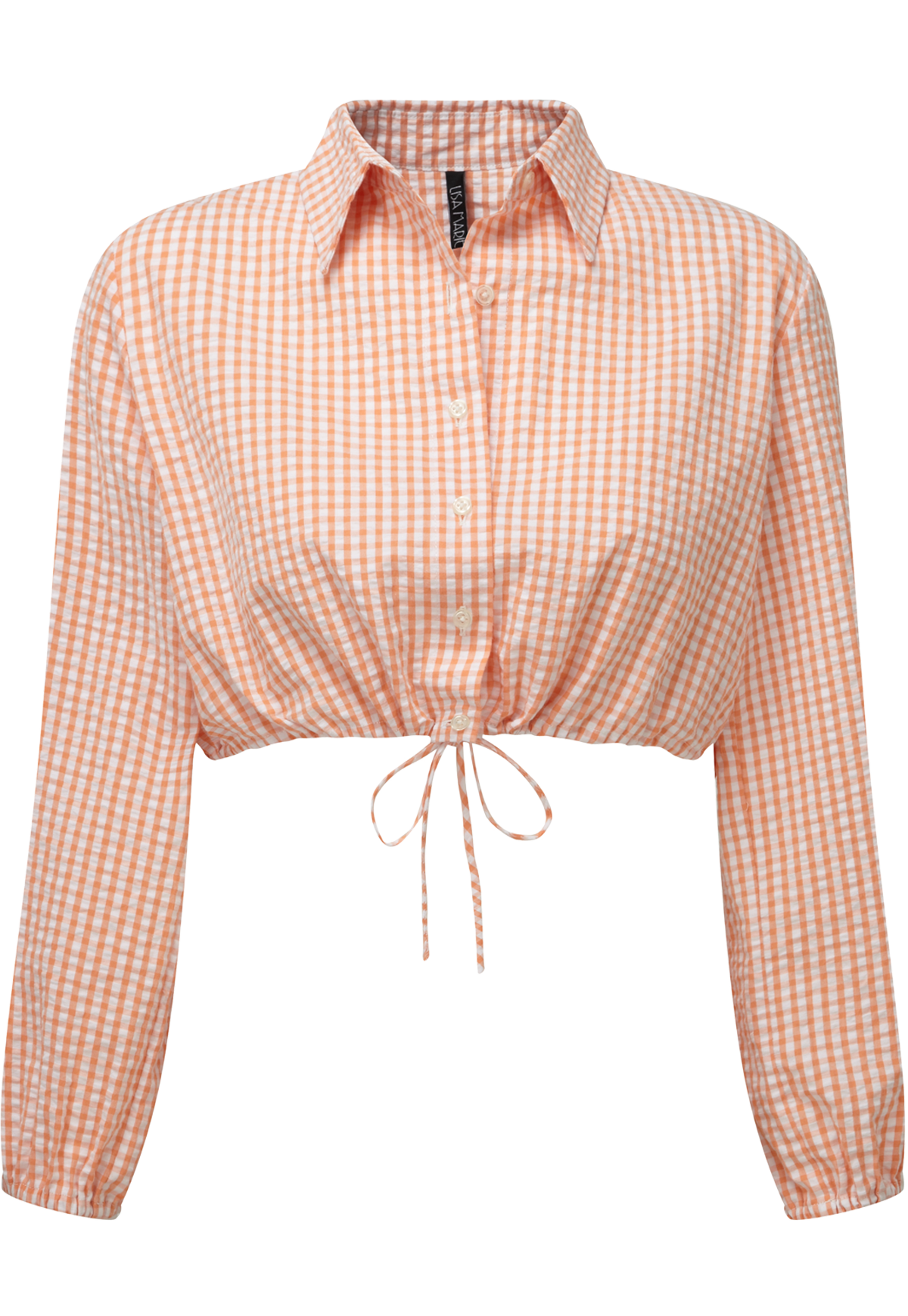 CHECK BUBBLE BLOUSE