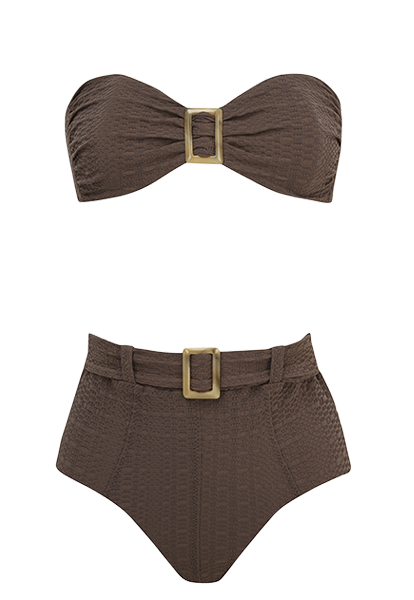 BUCKLE BANDEAU CHOCOLATE HIGH-WAIST BIKINI