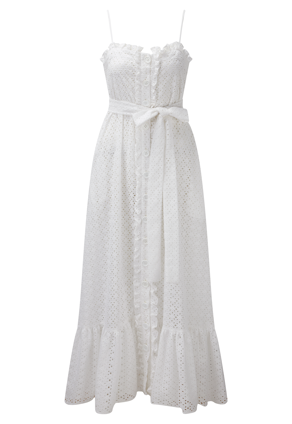 BUTTON DOWN WHITE EYELET SLIP DRESS