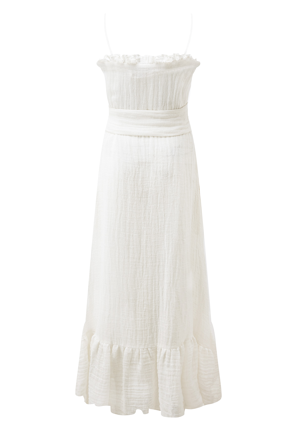 WHITE GAUZE RUFFLE SLIP DRESS