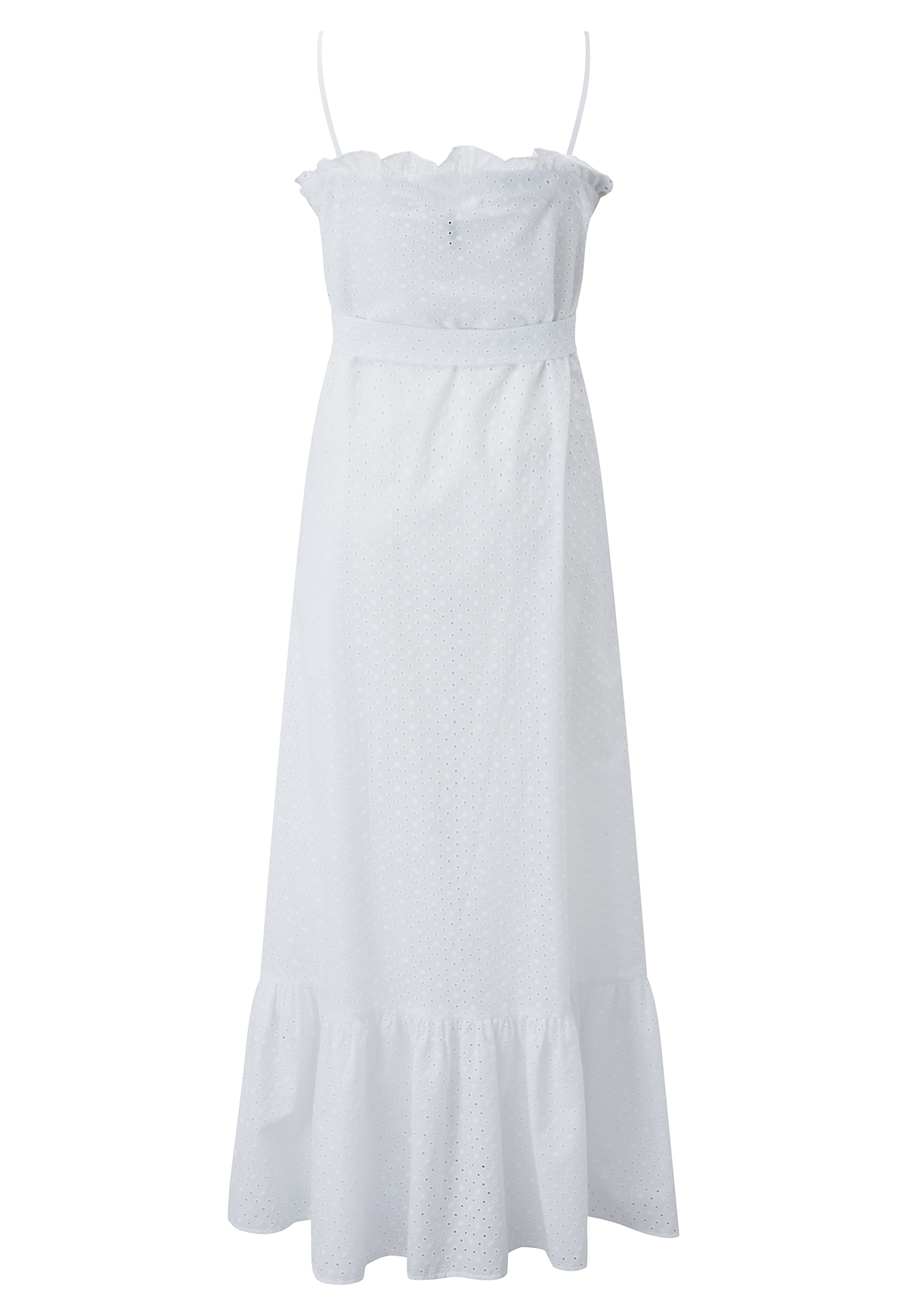 WHITE EYELET SLIP DRESS