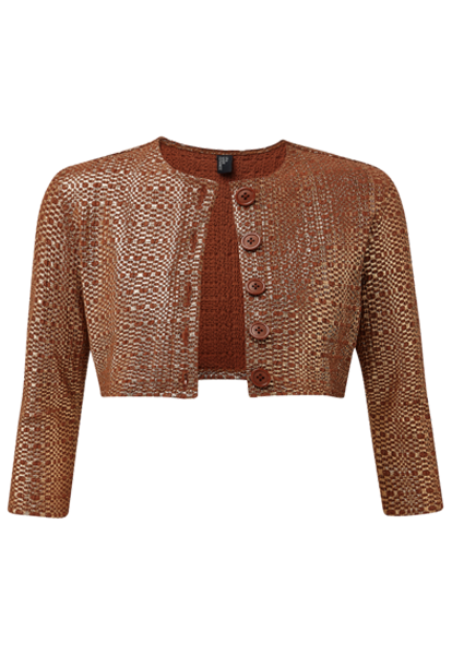TERRACOTTA METALLIC SEERSUCKER CARDIGAN