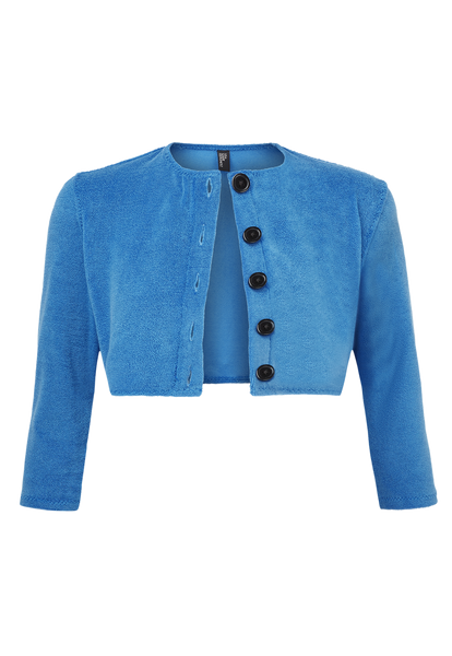 MOROCCAN BLUE TERRY CLOTH BUTTON CARDIGAN