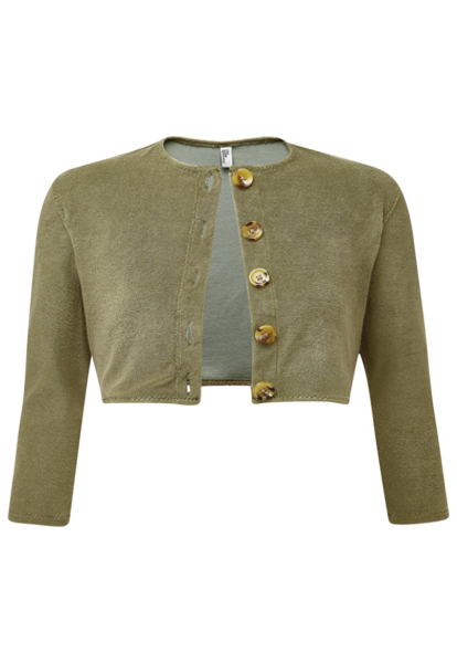 OLIVE TERRY CLOTH CARDIGAN