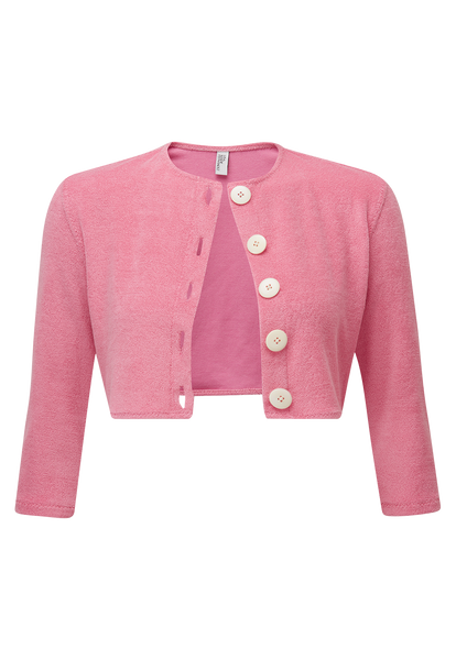 PINK TERRY CLOTH CARDIGAN