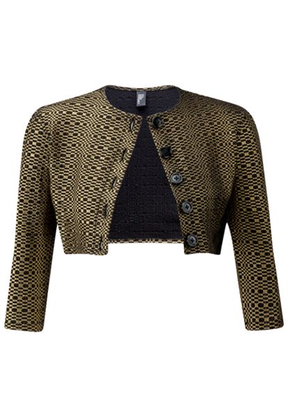 GOLD/BLACK METALLIC SEERSUCKER CARDIGAN